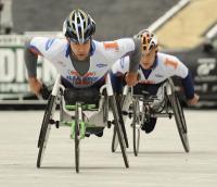 Aaron Pike winning the 2011 Bolder Boulder Men's Wheelchair Race