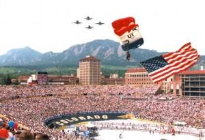 Parachutists coming into the stadium