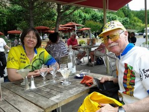 After lunch in La Roque Gageac; note empty ice cream glasses