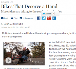 Handcycling in the WSJ