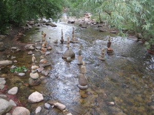 Stacks of rocks in Boulder Creek